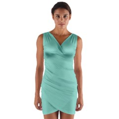 Tiffany Aqua Blue Puffy Quilted Pattern Wrap Front Bodycon Dress