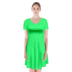 Lanai Lime Green - Acid Green Short Sleeve V-neck Flare Dress