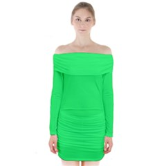 Lanai Lime Green - Acid Green Long Sleeve Off Shoulder Dress