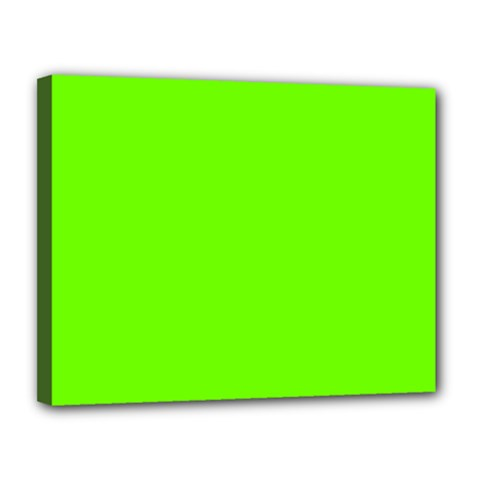 Bright Fluorescent Green Neon Canvas 14  x 11