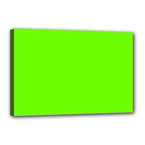 Bright Fluorescent Green Neon Canvas 18  x 12