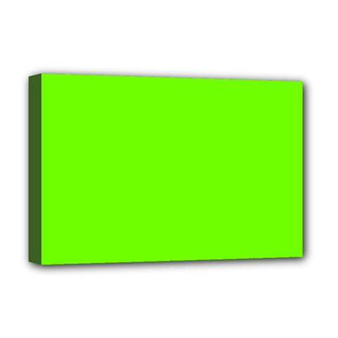 Bright Fluorescent Green Neon Deluxe Canvas 18  x 12