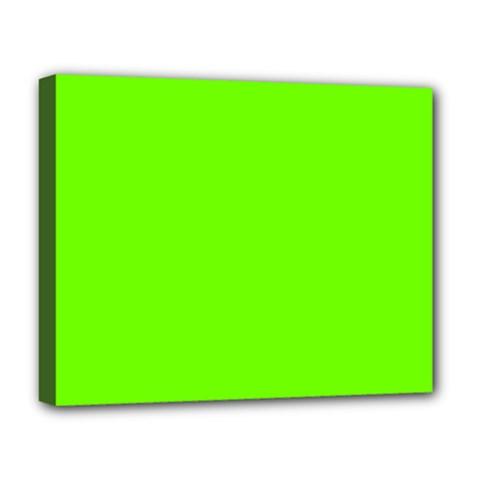 Bright Fluorescent Green Neon Deluxe Canvas 20  x 16