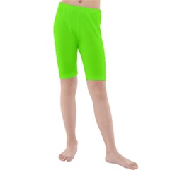 Bright Fluorescent Green Neon Kids  Mid Length Swim Shorts