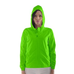 Bright Fluorescent Green Neon Hooded Wind Breaker (Women)