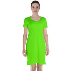 Bright Fluorescent Green Neon Short Sleeve Nightdress