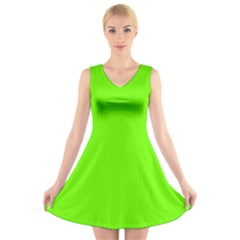 Bright Fluorescent Green Neon V-Neck Sleeveless Skater Dress