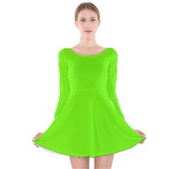 Bright Fluorescent Green Neon Long Sleeve Velvet Skater Dress