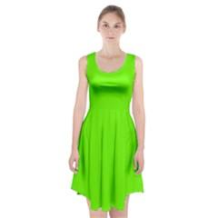 Bright Fluorescent Green Neon Racerback Midi Dress