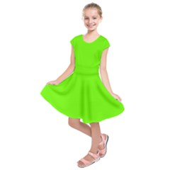 Bright Fluorescent Green Neon Kids  Short Sleeve Dress