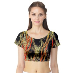 Artistic Effect Fractal Forest Background Short Sleeve Crop Top (Tight Fit)