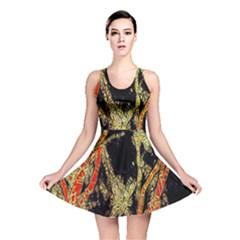 Artistic Effect Fractal Forest Background Reversible Skater Dress