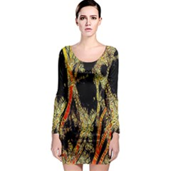 Artistic Effect Fractal Forest Background Long Sleeve Bodycon Dress