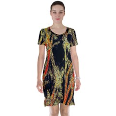 Artistic Effect Fractal Forest Background Short Sleeve Nightdress