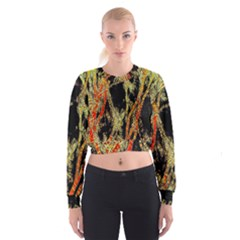 Artistic Effect Fractal Forest Background Women s Cropped Sweatshirt