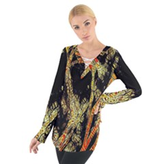 Artistic Effect Fractal Forest Background Women s Tie Up Tee