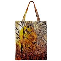 Summer Sun Set Fractal Forest Background Zipper Classic Tote Bag