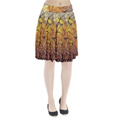 Summer Sun Set Fractal Forest Background Pleated Skirt