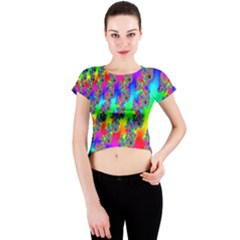 Digital Rainbow Fractal Crew Neck Crop Top