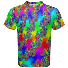 Digital Rainbow Fractal Men s Cotton Tee