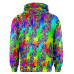 Digital Rainbow Fractal Men s Pullover Hoodie