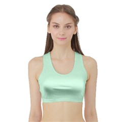 Pale Green Summermint Pastel Green Mint Sports Bra with Border