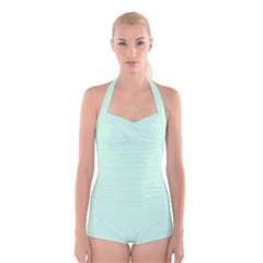 Pale Green Summermint Pastel Green Mint Boyleg Halter Swimsuit
