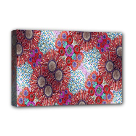 Floral Flower Wallpaper Created From Coloring Book Colorful Background Deluxe Canvas 18  X 12