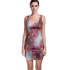Floral Flower Wallpaper Created From Coloring Book Colorful Background Sleeveless Bodycon Dress