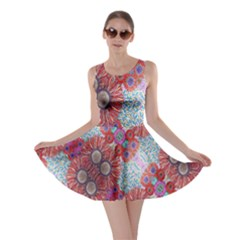 Floral Flower Wallpaper Created From Coloring Book Colorful Background Skater Dress