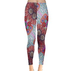 Floral Flower Wallpaper Created From Coloring Book Colorful Background Leggings