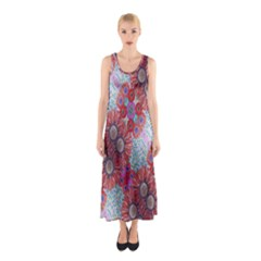 Floral Flower Wallpaper Created From Coloring Book Colorful Background Sleeveless Maxi Dress