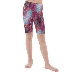 Floral Flower Wallpaper Created From Coloring Book Colorful Background Kids  Mid Length Swim Shorts