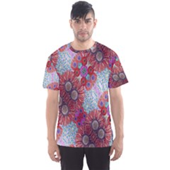 Floral Flower Wallpaper Created From Coloring Book Colorful Background Men s Sport Mesh Tee