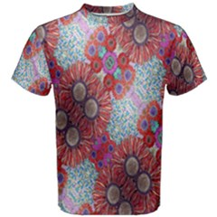 Floral Flower Wallpaper Created From Coloring Book Colorful Background Men s Cotton Tee
