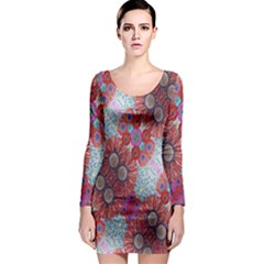 Floral Flower Wallpaper Created From Coloring Book Colorful Background Long Sleeve Bodycon Dress