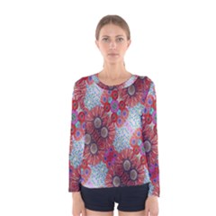 Floral Flower Wallpaper Created From Coloring Book Colorful Background Women s Long Sleeve Tee