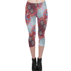 Floral Flower Wallpaper Created From Coloring Book Colorful Background Capri Leggings