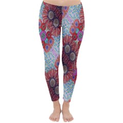 Floral Flower Wallpaper Created From Coloring Book Colorful Background Classic Winter Leggings
