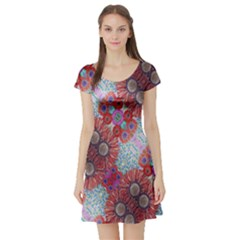 Floral Flower Wallpaper Created From Coloring Book Colorful Background Short Sleeve Skater Dress
