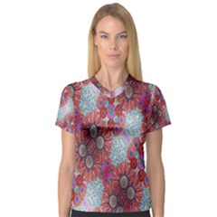 Floral Flower Wallpaper Created From Coloring Book Colorful Background Women s V Neck Sport Mesh Tee