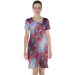 Floral Flower Wallpaper Created From Coloring Book Colorful Background Short Sleeve Nightdress