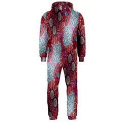 Floral Flower Wallpaper Created From Coloring Book Colorful Background Hooded Jumpsuit (Men)