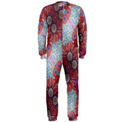 Floral Flower Wallpaper Created From Coloring Book Colorful Background OnePiece Jumpsuit (Men)