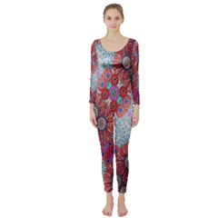 Floral Flower Wallpaper Created From Coloring Book Colorful Background Long Sleeve Catsuit