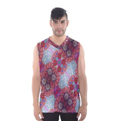 Floral Flower Wallpaper Created From Coloring Book Colorful Background Men s Basketball Tank Top