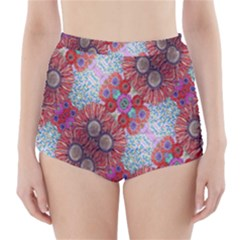 Floral Flower Wallpaper Created From Coloring Book Colorful Background High-Waisted Bikini Bottoms