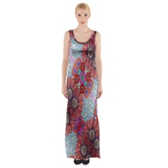 Floral Flower Wallpaper Created From Coloring Book Colorful Background Maxi Thigh Split Dress