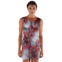 Floral Flower Wallpaper Created From Coloring Book Colorful Background Wrap Front Bodycon Dress
