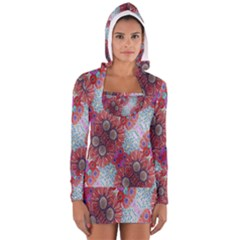 Floral Flower Wallpaper Created From Coloring Book Colorful Background Women s Long Sleeve Hooded T Shirt